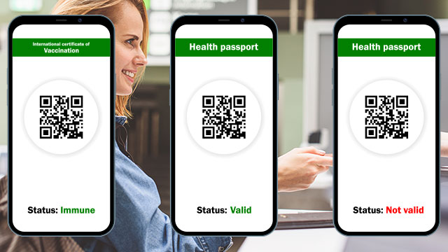 A Set of Vaccine Passports Showing Their Respective Status Screen